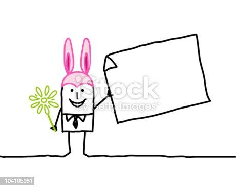 istock Bunny man & blank message 104105981