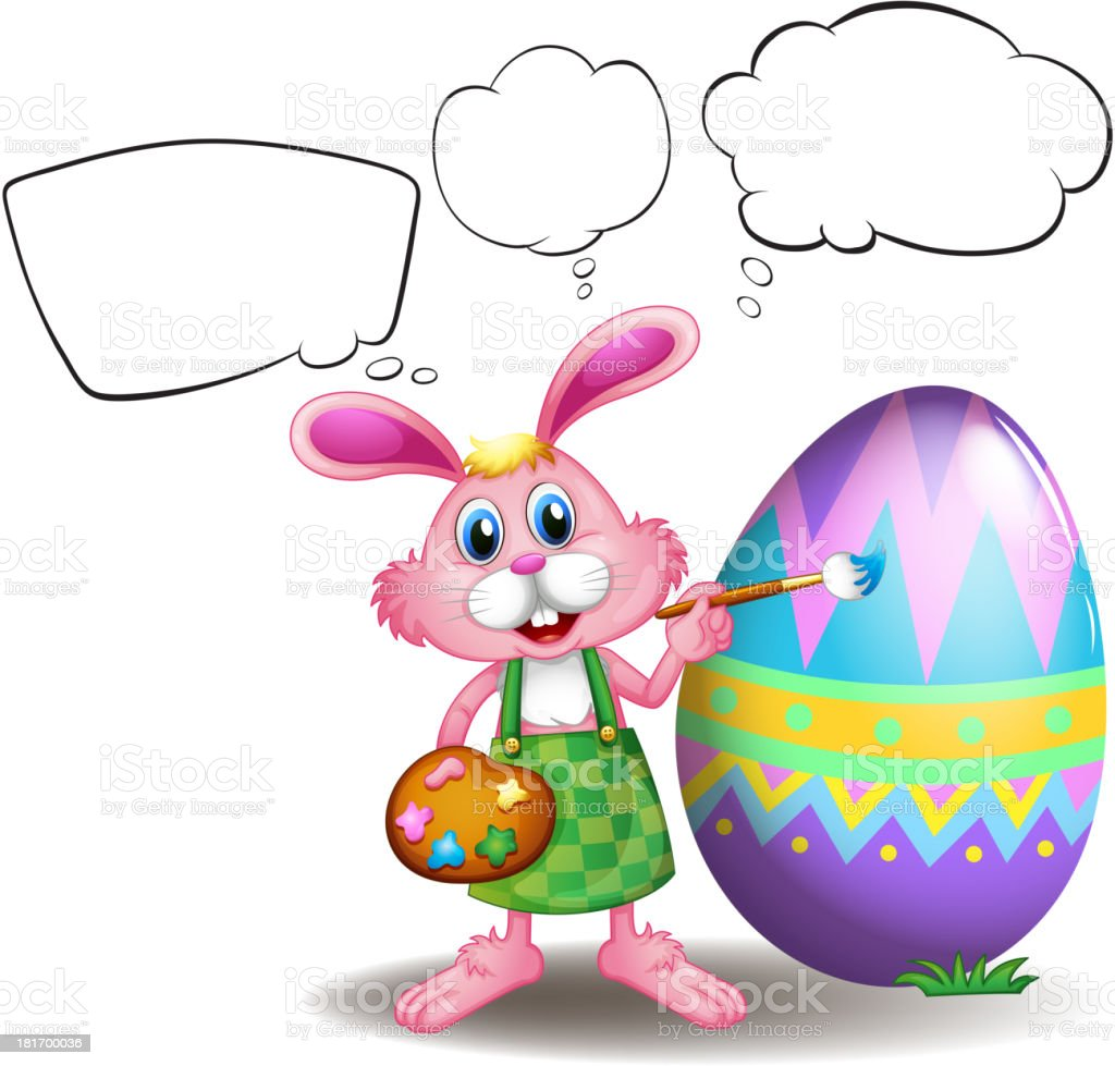 Bunny painting an egg with empty callouts royalty-free stock vector art