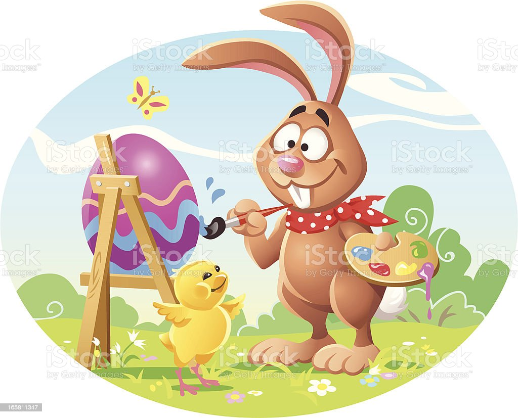 Bunny Painting Easter Egg royalty-free stock vector art