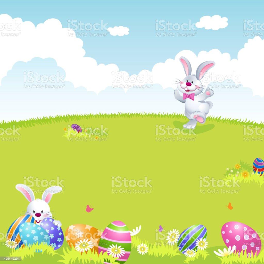 Bunny Palying Easter Egg Hunt in Spring vector art illustration