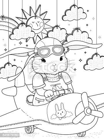 Ilustración de Bunny Pilot Coloring Page y más banco de imágenes de ...