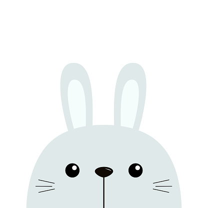 Bunny rabbit. Cute funny head face. Kawaii cartoon character. Happy Valentines Day. Easter. Baby greeting card template. Notebook cover, tshirt. White background. Flat design.