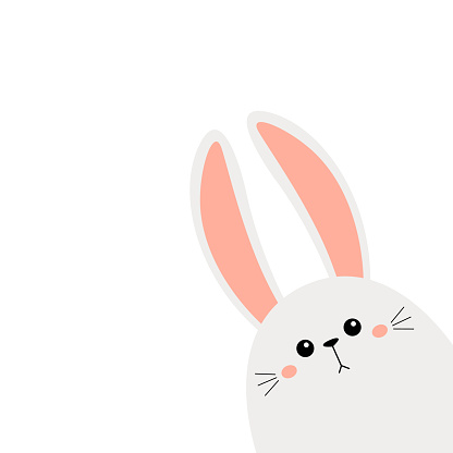Bunny rabbit face head icon in the corner. Cute kawaii hare animal. Cartoon funny baby character. Kids print for poster, t-shirt, sticker. Love. Scandinavian style. Flat design. White background.