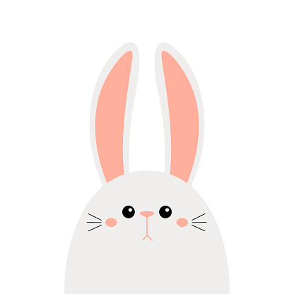 Bunny rabbit face head icon set. Cute kawaii hare animal. Cartoon funny baby character. Kids print for poster, t-shirt, sticker. Love. Scandinavian style. Flat design. White background.