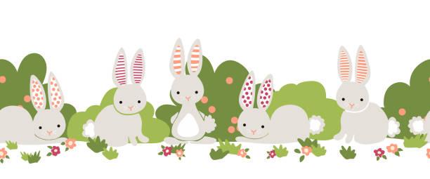 Bunny seamless vector border. Cute bunnies, flower bushes repeating background. Cartoon style rabbits kids design. For digital paper, kids decor, web banner, card, birthday invitation, spring, summer vector art illustration