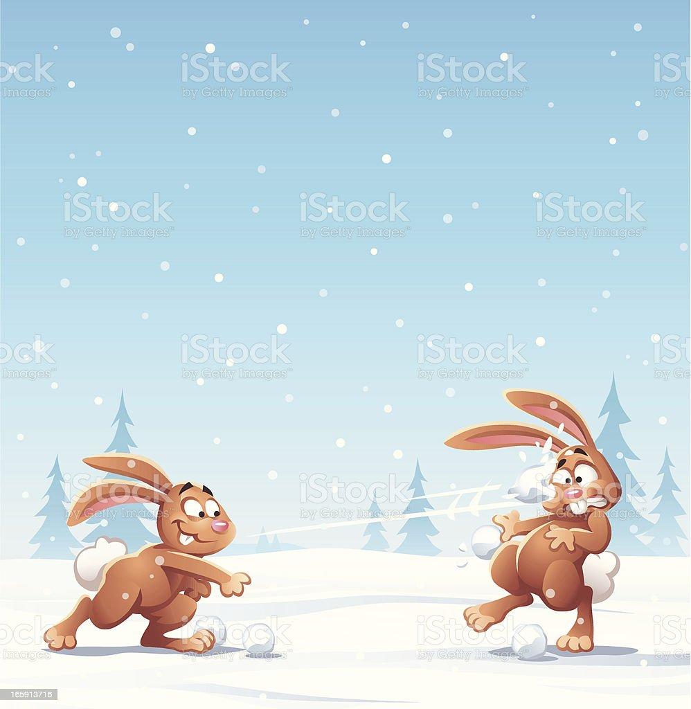 Bunny Guerra de bola de neve - ilustração de arte em vetor