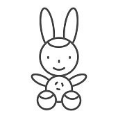 Bunny thin line icon, Kids toys concept, Rabbit toy sign on white background, Plush toy bunny icon in outline style for mobile concept and web design. Vector graphics