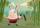 a bunny is training martial art, but hit himself