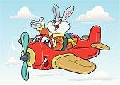 Illustration of bunny flying plane.