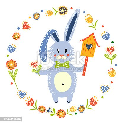 istock Bunny with a birdhouse and a flower in his hands. Hello spring. Cute character. Happy Easter. Vector illustration. The isolated image on a white background. Template for design. 1305054036