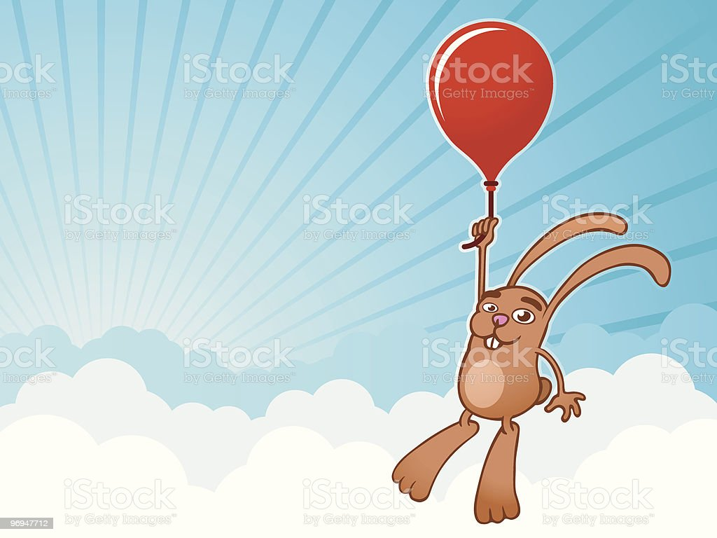 Bunny with balloon background - vector royalty-free bunny with balloon background vector stock vector art & more images of adventure