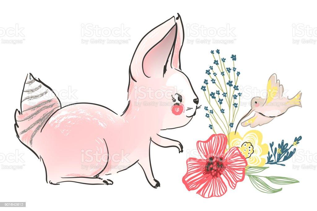 Bunny With Flowers And Flying Bird Calibri Hummingbird Stock