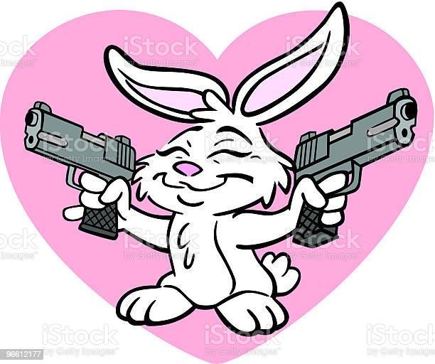 Кролик С Guns — стоковая векторная графика и другие изображения на тему Пасхальный Кролик