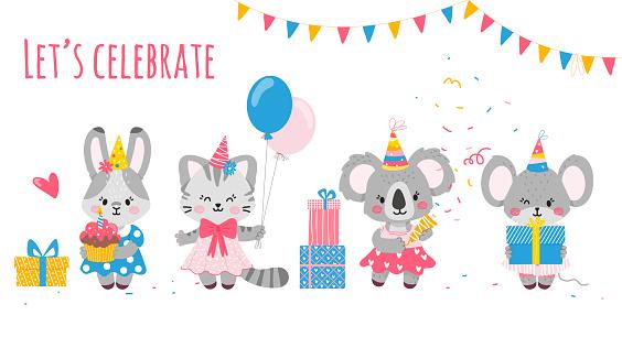Bunny,koala,cat,mouse.Party-invitations,posters,postcards.Vector illustration.Happy birthday celebration.