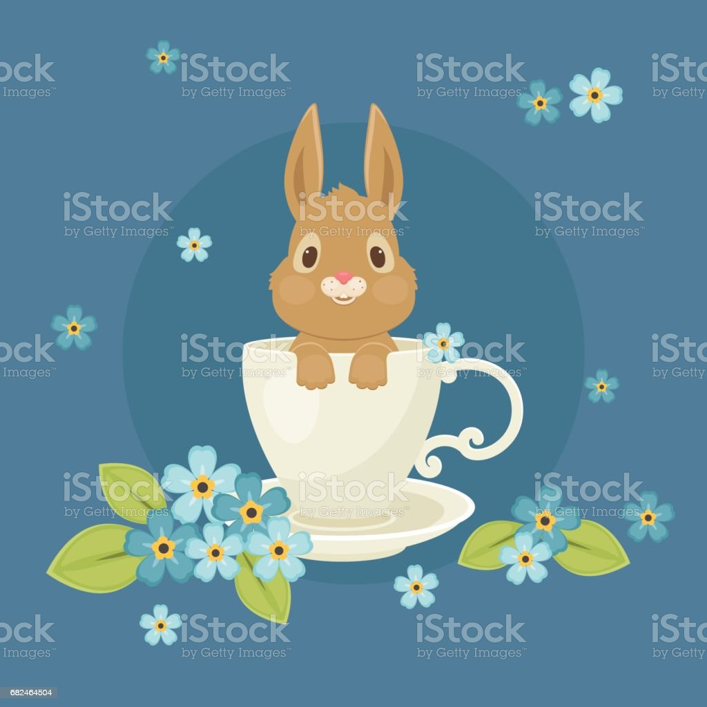 Bunny/rabbit sitting inside the cup royalty-free bunnyrabbit sitting inside the cup stock vector art & more images of animal