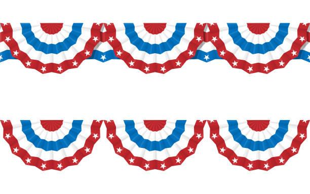 bildbanksillustrationer, clip art samt tecknat material och ikoner med bunting amerikanska flaggor för 4 juli. vektor - parad