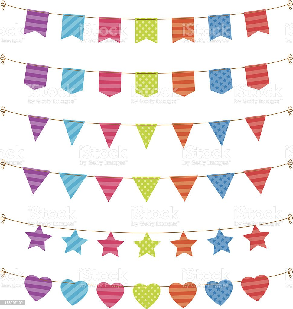 bunting and flags vector art illustration