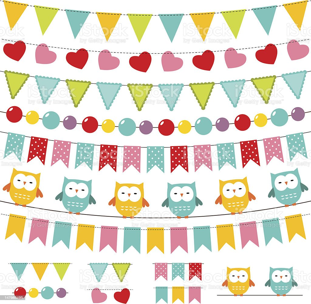 Bunting and garland set royalty-free bunting and garland set stock vector art & more images of bird