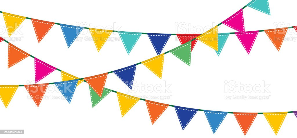 Bunting and garland set. - ilustración de arte vectorial