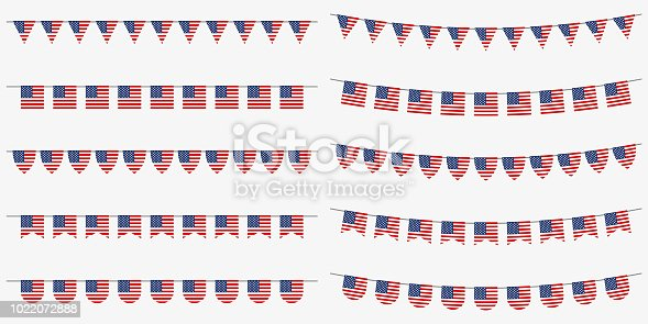 USA bunting and garland set with American flags. US flags decoration for celebrate, party or festival. Memorial Day, 4th of July Independence Day, Veterans Day decoration. Vector illustration.