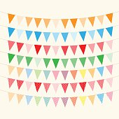 Bunting and garlands for Birthday Card