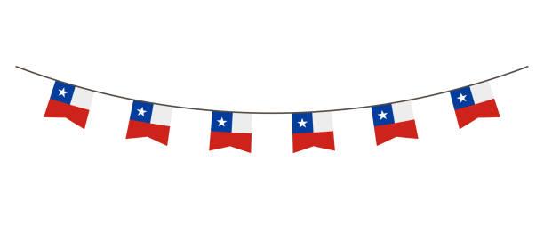 kiraz kuşu dekorasyon şili bayrağının renkleri. garland, flamalar üzerinde bir ip parti, festivali, karnaval kutlama için. şili 18 ağustos tarihinde ulusal günü için - şili stock illustrations