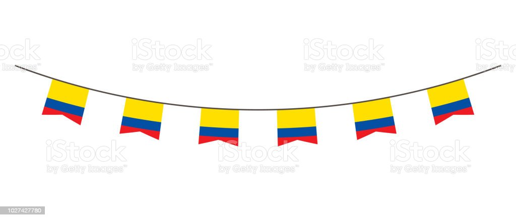Bunting decoration in colors of Ecuador flag. Garland, pennants on a rope for party, carnival, festival, celebration. For National Day of  Ecuador on August 18 vector art illustration