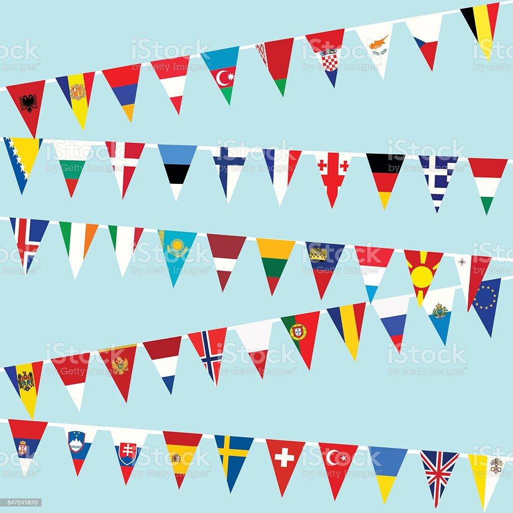 Bunting European Union flags vector art illustration