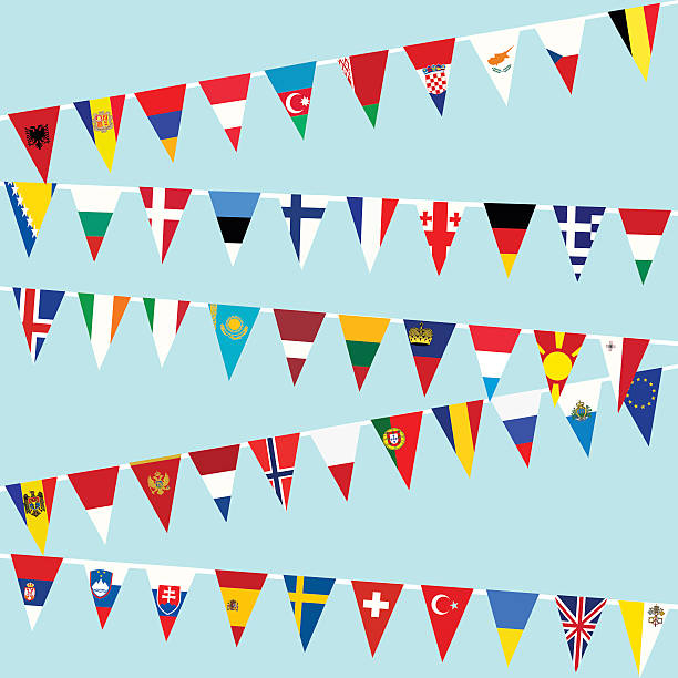 Bunting European Union flags Bunting European Union flags national flag illustrations stock illustrations