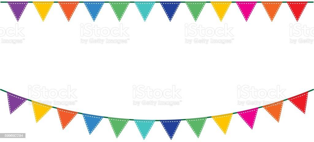 Bunting festive flags vector art illustration