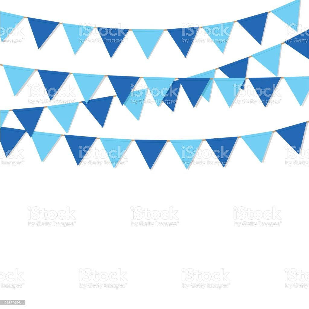 bunting flag blue color isolated vector vector art illustration