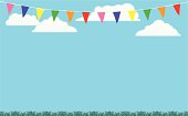 Bunting Flags Background with Grass and Sky