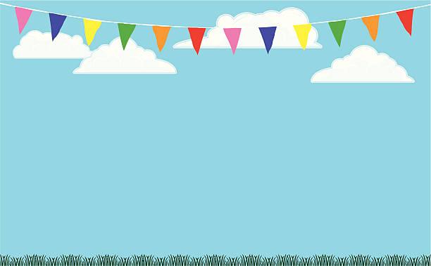 Escrevedeira-Pássaro Flags fundo com grama e o céu - ilustração de arte em vetor