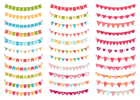 Bunting flags collection for decoration party, celebration birthday