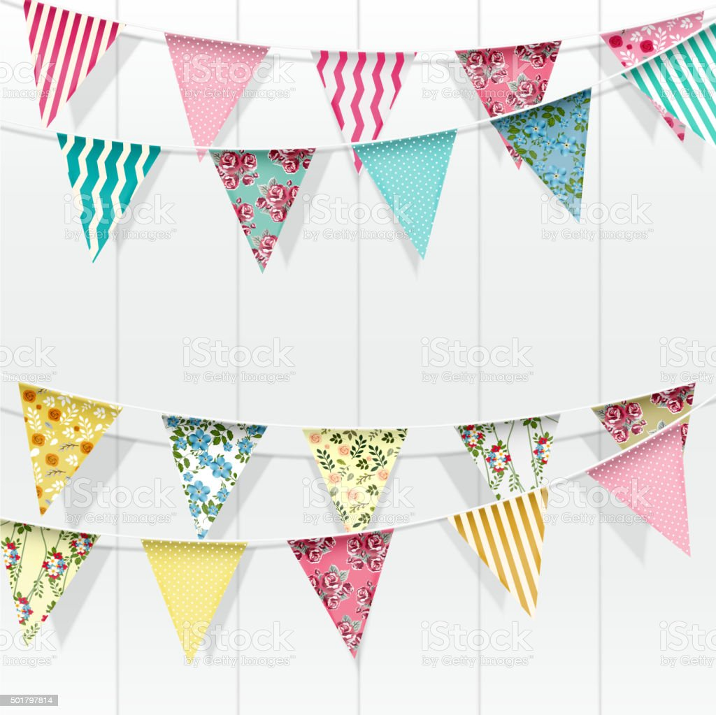 Bunting flags decoration on isolated background. Vector vector art illustration