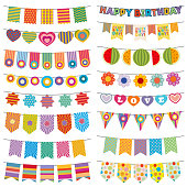 Bunting flags kid party vector decoration
