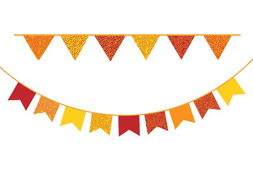 Bunting flags vector. Decorative banners on white background