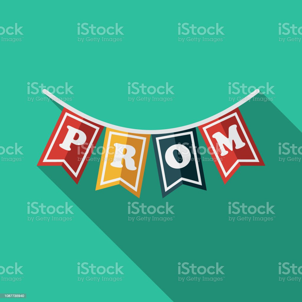Bunting Flat Design Prom Icon vector art illustration