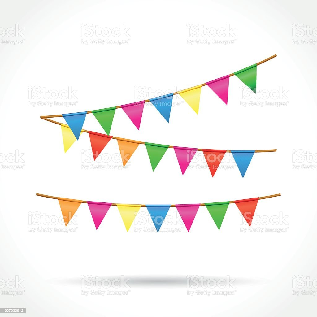 bunting on white background - ilustración de arte vectorial