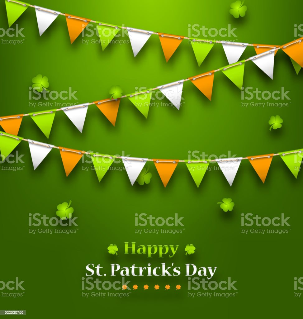 Bunting Pennants in Irish Colors and Clovers for St. Patrick vector art illustration