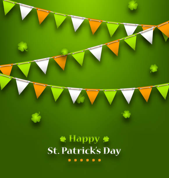 bunting pennants in irish colors and clovers for st. patrick - flagge irland stock-grafiken, -clipart, -cartoons und -symbole