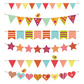 Buntings and Garlands isolated on white background. Illustrator 10 vector eps.