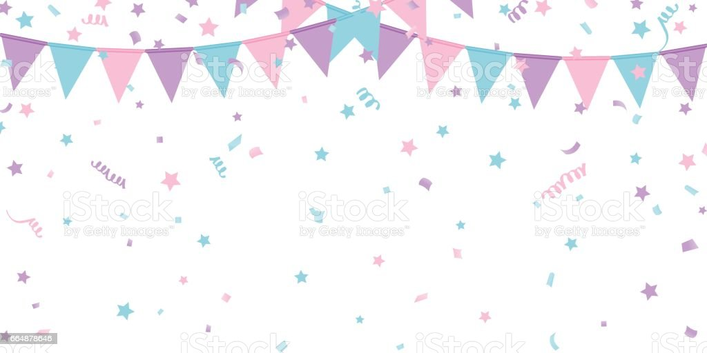 Buntings Kids Garland Isolated On White Background Royalty Free