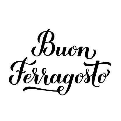 Buon Ferragosto calligraphy hand lettering. Happy August Festival in Italian. Traditional summer holiday in Italy. Vector template for typography poster, banner, invitation, card, sticker