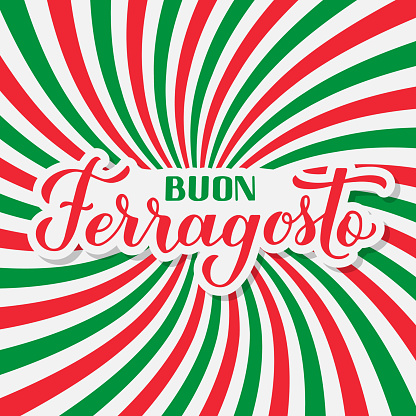 Buon Ferragosto calligraphy hand lettering. Happy August Festival in Italian. Traditional summer holiday in Italy. Vector template for typography poster, banner, invitation, card, postcard, etc.