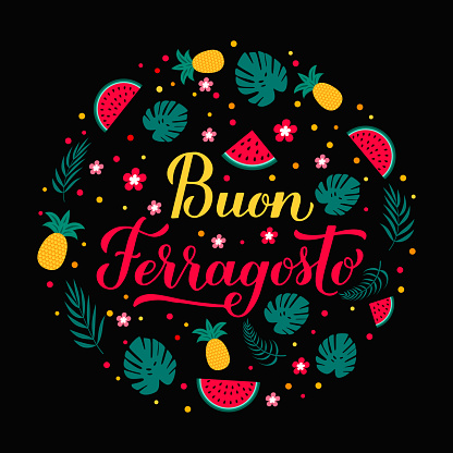 Buon Ferragosto calligraphy hand lettering. Happy August Festival in Italian. Traditional summer holiday in Italy. Vector template for typography poster, banner, card, invitation, etc