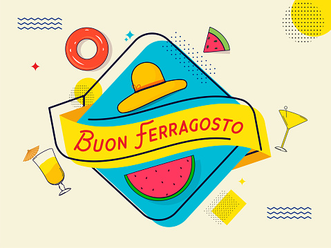 Buon Ferragosto Concept With Beach Elements On Blue And Beige Background.