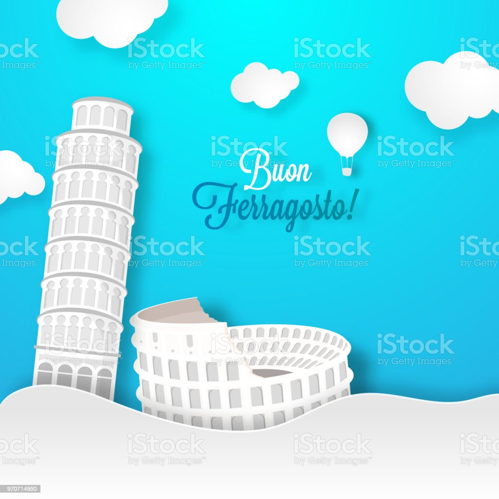 Buon Ferragosto Concept With Leaving Tower Or Pisa And