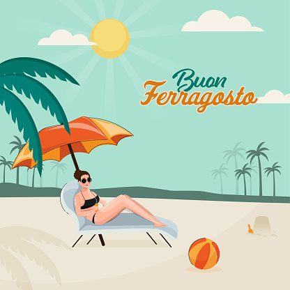 Buon Ferragosto Concept With Modern Young Woman Sit On Lounger Side Beach View.
