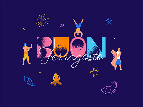 Buon Ferragosto Font With People Dancing And Bonfire On Purple Background.
